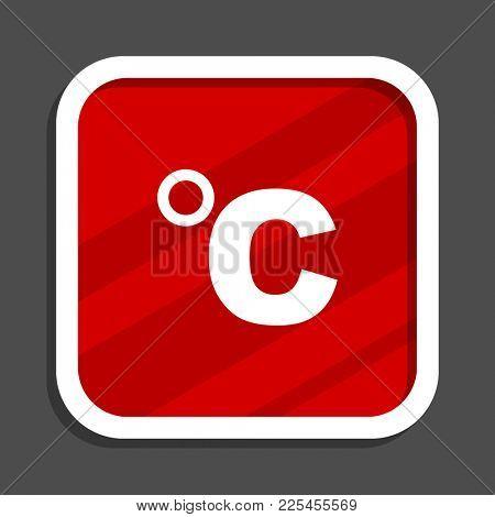 Celsius icon. Flat design square internet banner.