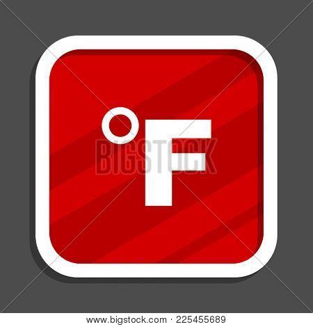 Fahrenheit icon. Flat design square internet banner.