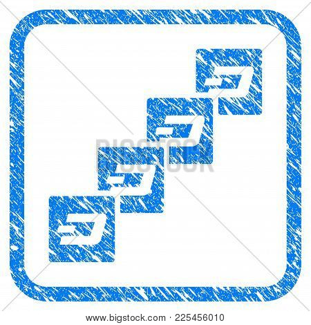 Dash Block Chain Rubber Seal Stamp Imitation. Icon Vector Symbol With Grunge Design And Corrosion Te