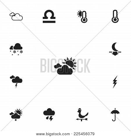 Set Of 13 Editable Air Icons. Includes Symbols Such As Current Shock, Cloudburst, Sunlight Fog And M