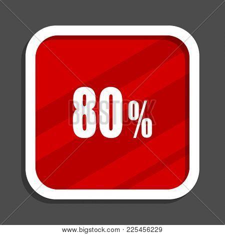 80 percent icon. Flat design square internet banner.