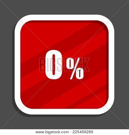 0 percent icon. Flat design square internet banner.