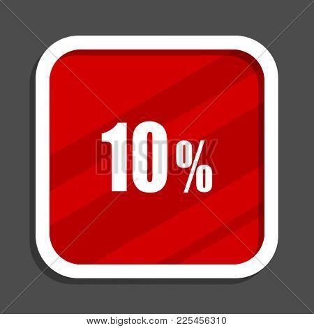 10 percent icon. Flat design square internet banner.