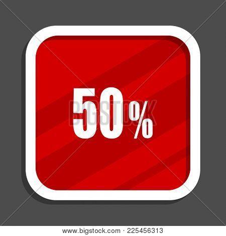 50 percent icon. Flat design square internet banner.