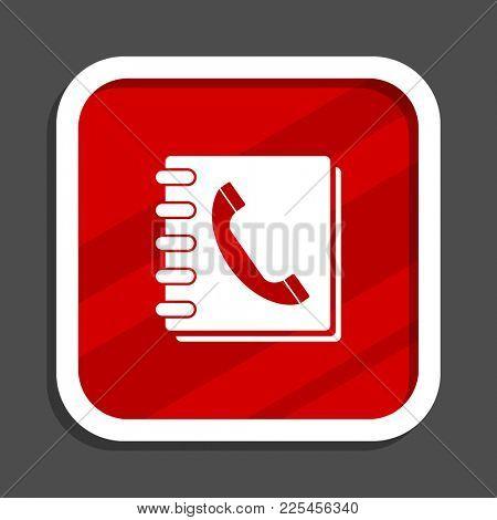 Phonebook icon. Flat design square internet banner.