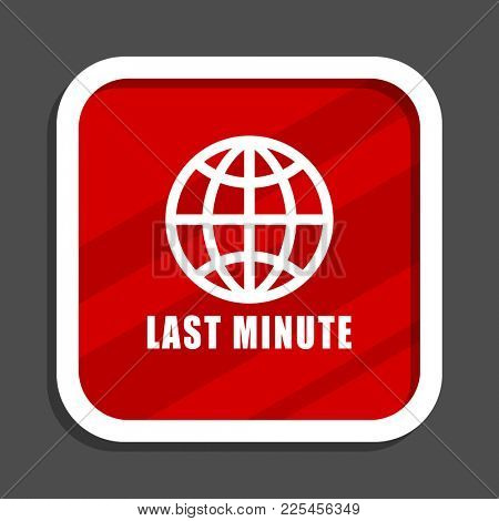 Last minute icon. Flat design square internet banner.