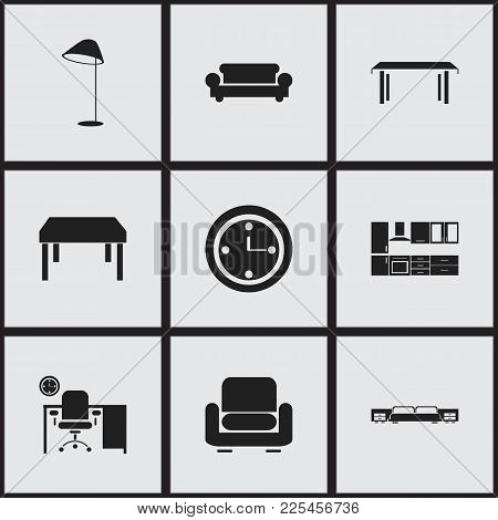 Set Of 9 Editable Furnishings Icons. Includes Symbols Such As Office, Recliner, Canape And More. Can