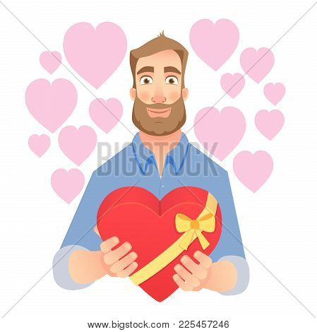 Young Man Gives Heart. Gift Giving Illustration