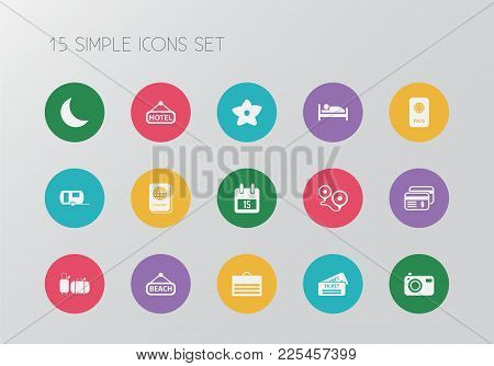 Set Of 15 Editable Journey Icons. Includes Symbols Such As Beach, Flower, Ticket And More. Can Be Us