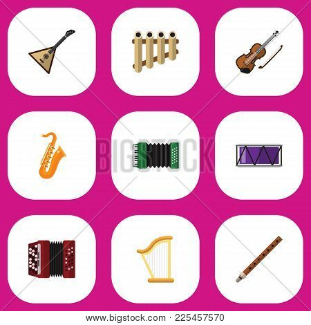 Set Of 9 Editable Music Icons Flat Style. Includes Symbols Such As Fife, Harmonica, Barrel And More.