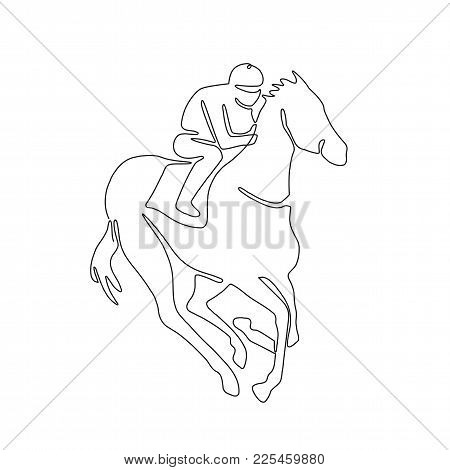 Continuous Line Drawing Illustration Of A Jockey Riding On Horse Racing Done In Sketch Or Doodle Sty