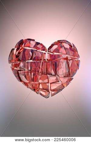 Brilliant ruby on black background. Red Crystal. St. Valentine's Day 3D rendering