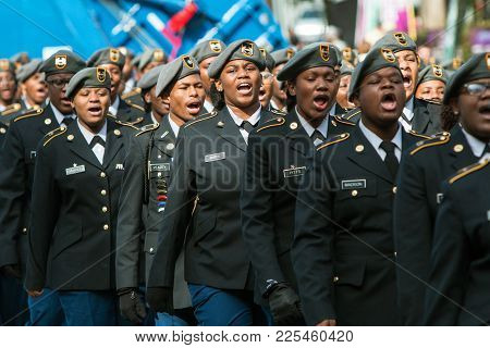 Atlanta, Ga - November 2017:  A Group Of High School Junior Rotc Cadets Sound Off While Walking In T