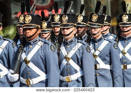 Atlanta, Ga - November 2017:  High School Cadets From Riverside Military Academy March In Formation
