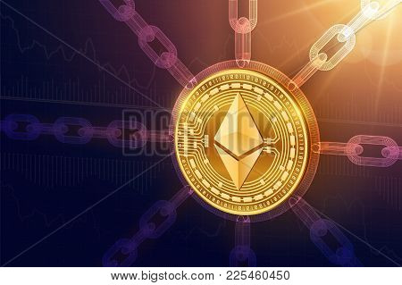 Ethereum. Crypto currency. Block chain. 3D isometric Physical Ethereum coin with wireframe chain. Blockchain concept. Editable Cryptocurrency template. Stock vector illustration