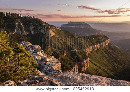 Sunset View Of The Grand Canyon North Rim From Locust Point On The Edge Of The Kaibab Plateau From T