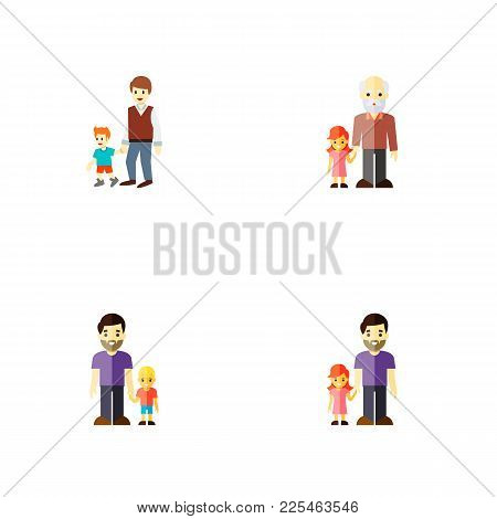 Icon Flat Relatives Set Of Grandchild, Daugther, Brothers Vector Objects. Also Includes Family, Fath