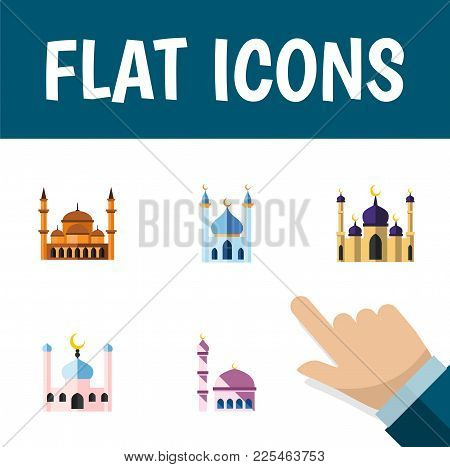 Icon Flat Mosque Set Of Building, Architecture, Mosque And Other Vector Objects. Also Includes Mosqu