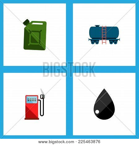 Icon Flat Fuel Set Of Jerrycan, Tanker, Gas Station And Other Vector Objects. Also Includes Oil, Jer