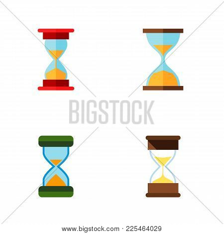Icon Flat Sandglass Set Of Sand Timer, Instrument, Loading Vector Objects. Also Includes Hourglass,