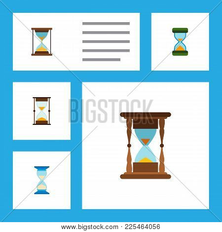 Icon Flat Sandglass Set Of Minute Measuring, Sandglass, Hourglass Vector Objects. Also Includes Sand