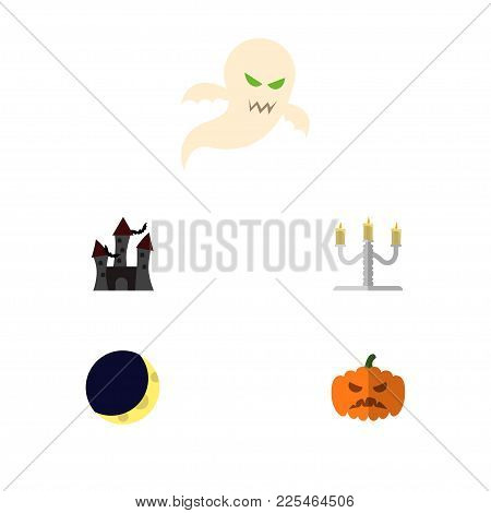 Icon Flat Celebrate Set Of Gourd, Phantom, Candelabrum Vector Objects. Also Includes Halloween, Moon
