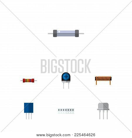 Icon Flat Electronics Set Of Resistance, Ram, Opposition And Other Vector Objects. Also Includes Rec