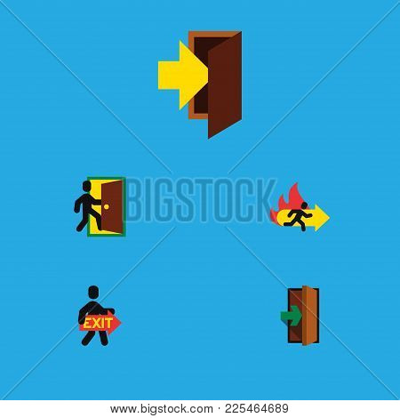 Icon Flat Emergency Set Of Evacuation, Fire Exit, Entrance And Other Vector Objects. Also Includes E