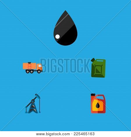 Icon Flat Oil Set Of Fuel Canister, Oil Pump, Truck And Other Vector Objects. Also Includes Oil, Jer