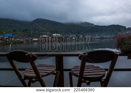 Couple Seat For Looking The River Landscape In Countryside, Traveling In Thailand