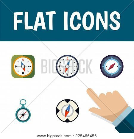 Icon Flat Compass Set Of Geography, Instrument, Direction And Other  Objects. Also Includes Compass,