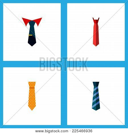 Icon Flat Tie Set Of Tie, Necktie, Collar And Other  Objects. Also Includes Cravat, Collar, Style El