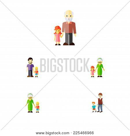 Icon Flat Family Set Of Grandson, Brothers, Grandchild  Objects. Also Includes Family, Grandchild, G