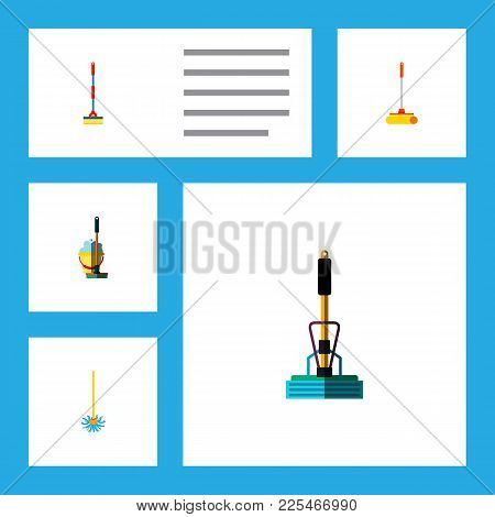 Icon Flat Mop Set Of Sweep, Besom, Bucket And Other  Objects. Also Includes Mop, Sweep, Cleaner Elem