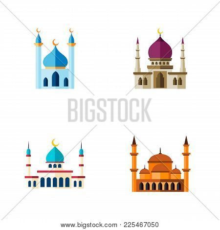Icon Flat Minaret Set Of Muslim, Structure, Islam And Other  Objects. Also Includes Mosque, Structur
