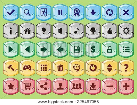 Game Interface Buttons Set, For App Icons Contains Different Colours, Buttons Sets For Creating 2d G