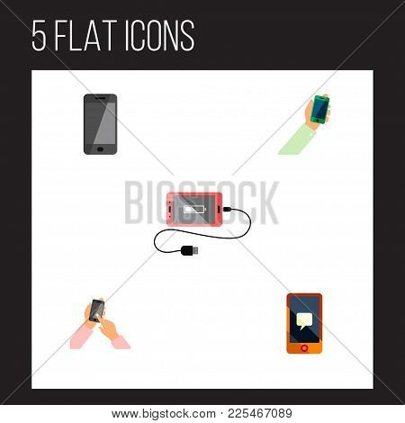 Icon Flat Touchscreen Set Of Charge, Cellphone, Smartphone And Other  Objects. Also Includes Cellpho