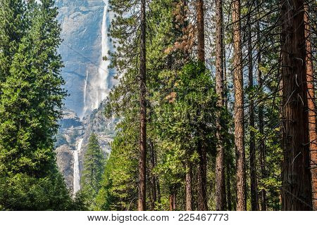 Bridal Veil Falls In Yosemite Park, California, Usa