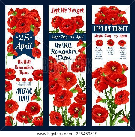 Anzac Day Lest We Forget Greeting Icon And Poppy Flower For 25 April Australian And New Zealand War