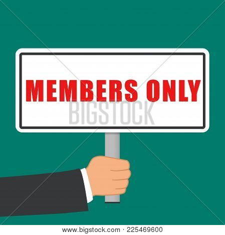 Illustration Of Members Only Sign Flat Concept