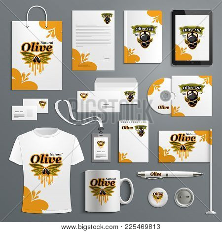 Corporate Identity Template For Olive Farm Product Design. Olive Tree Leaf With Black Olive Fruit An