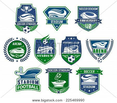 Football Sport Club Badge With Soccer Stadium. Sporting Arena For Football Tournament Event With Soc