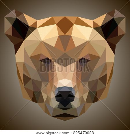 Polygon Triangle Bear Head Polygonal Logo Icon Template