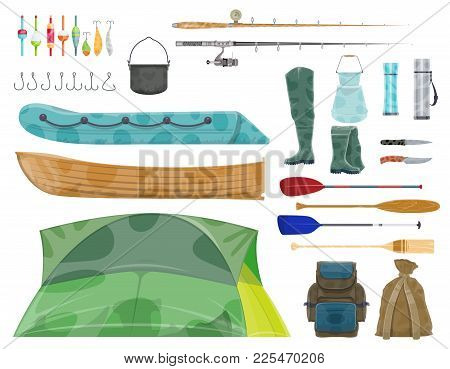 Fishing Sport Equipment And Gear Icon. Fishing Rod, Hook, Bait And Boat, Fisherman Tackle, Reel, Lur