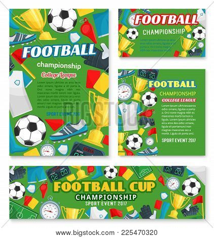 Football Sport Championship Event Banner Of Soccer College League Template. Football Match Poster Wi