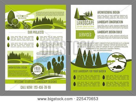 Landscape Design Company Business Brochure Template. Landscape Architecture, Construction, Park Plan