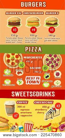 Fast Food Lunch Menu Banner Template With Ingredient And Price. Hamburger, Cheeseburger And Pizza Wi