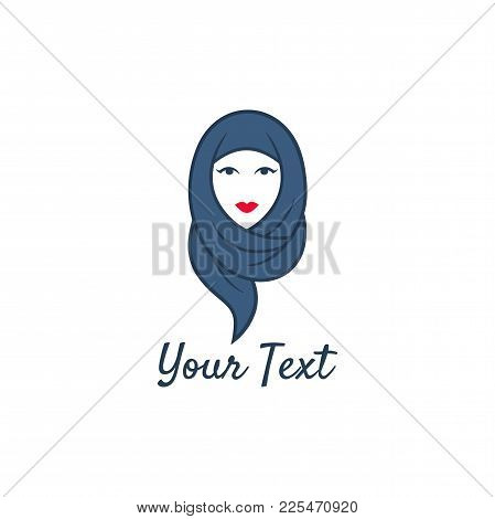 Hijab Girl Logo Design Vector, Template Illustration