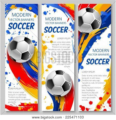 Soccer Ball Sporting Banner For Football Sport Game Competition Event Template. Soccer Ball With Tex