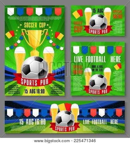 Sport Pub Invitation Banner For Football Championship Match Event Template. Soccer Ball And Beer On